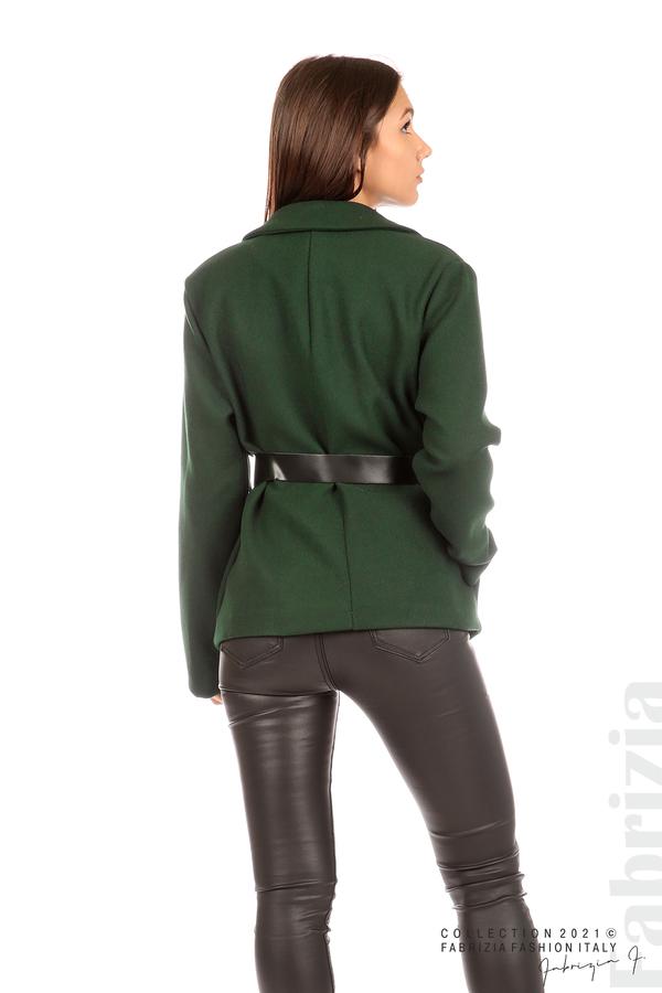 Късо едноцветно палто с колан т.зелен 7 fabrizia