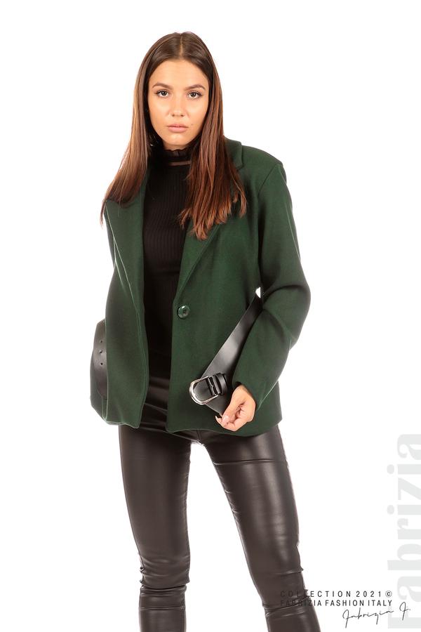 Късо едноцветно палто с колан т.зелен 1 fabrizia