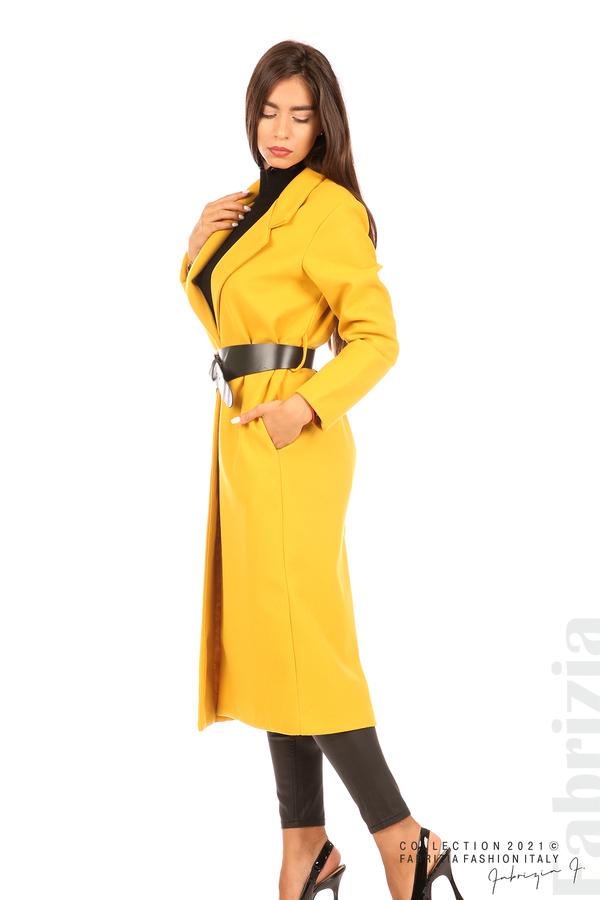 Дълго едноцветно палто с колан жълт 4 fabrizia