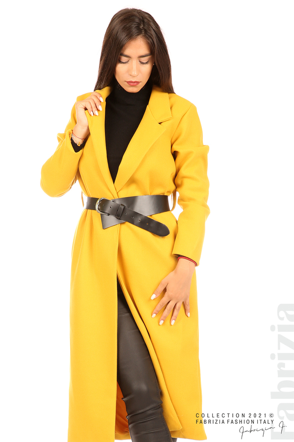 Дълго едноцветно палто с колан жълт 3 fabrizia