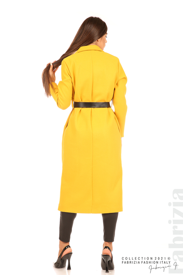 Дълго едноцветно палто с колан жълт 7 fabrizia