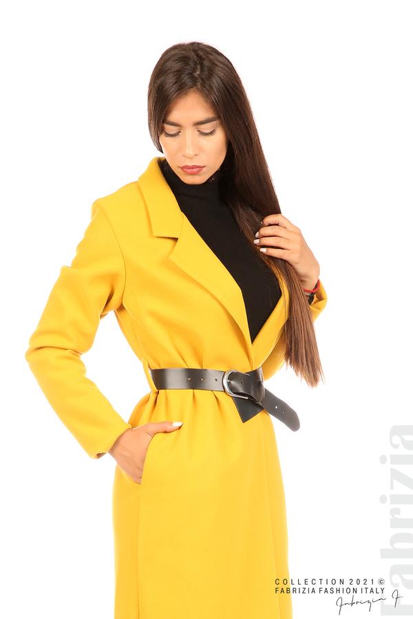 Дълго едноцветно палто с колан жълт 5 fabrizia