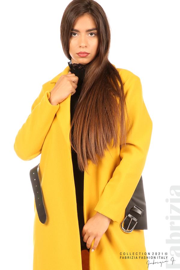 Дълго едноцветно палто с колан жълт 2 fabrizia