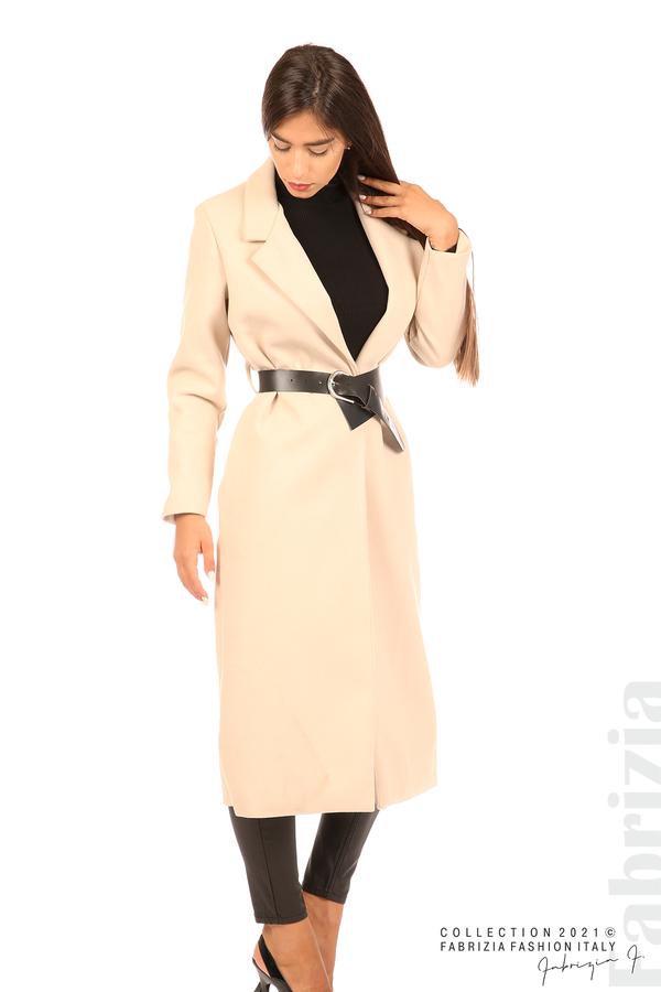 Дълго едноцветно палто с колан бежов 6 fabrizia