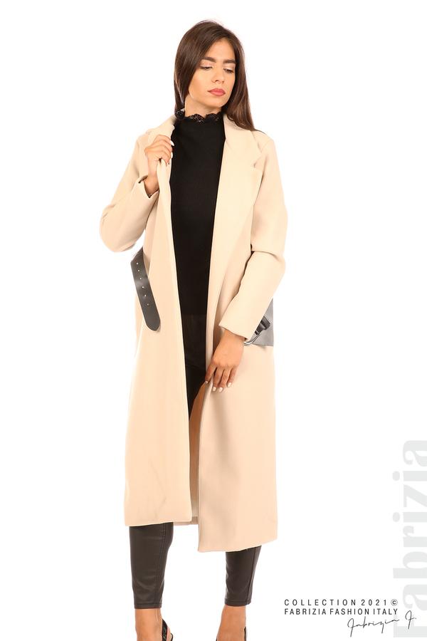 Дълго едноцветно палто с колан бежов 5 fabrizia