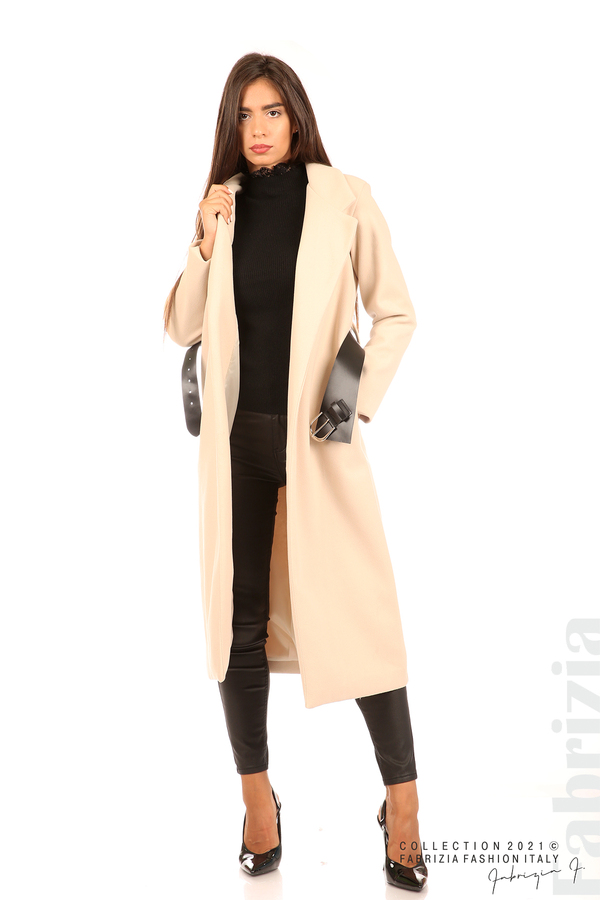 Дълго едноцветно палто с колан бежов 1 fabrizia