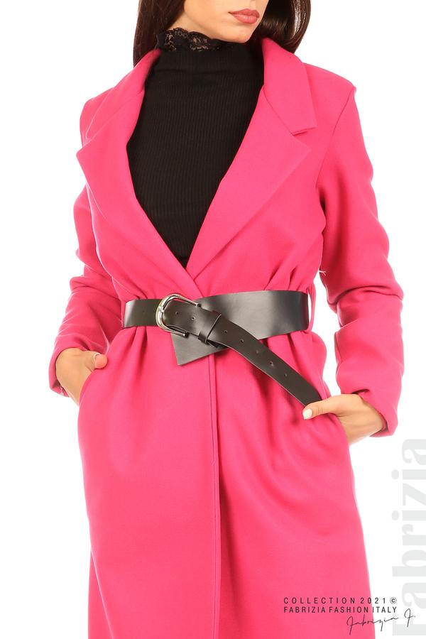 Дълго едноцветно палто с колан циклама 4 fabrizia