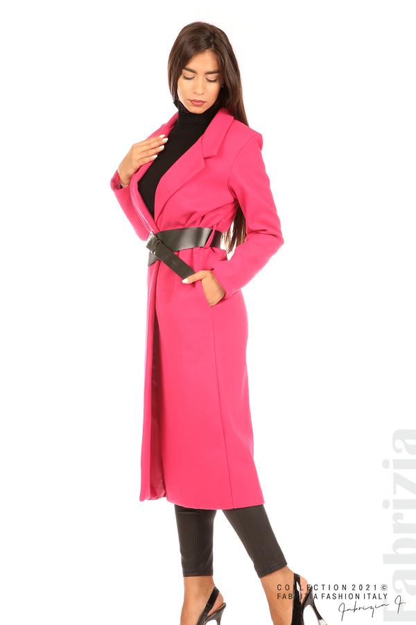 Дълго едноцветно палто с колан циклама 3 fabrizia