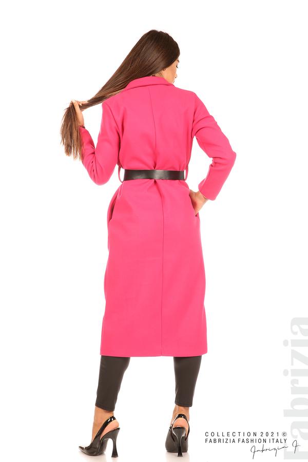 Дълго едноцветно палто с колан циклама 7 fabrizia
