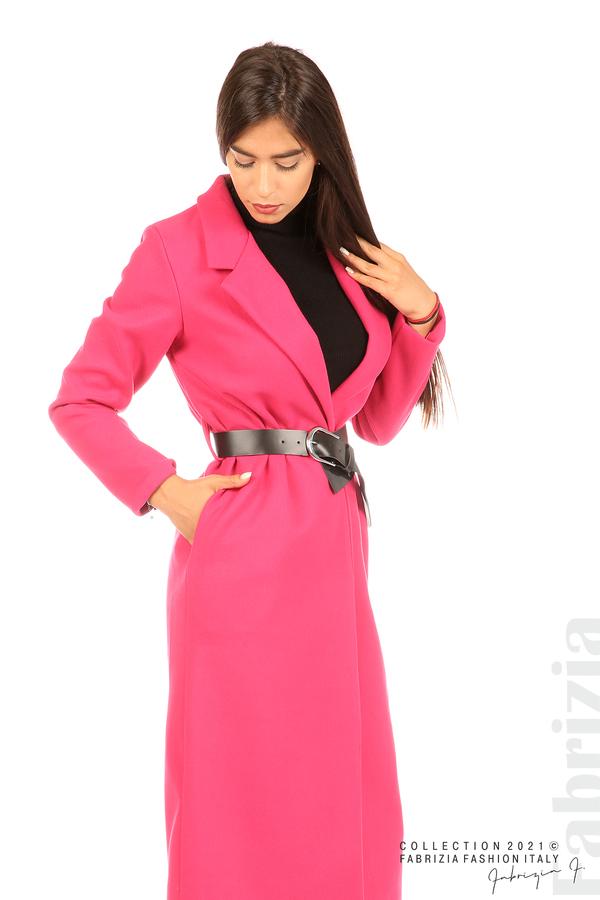Дълго едноцветно палто с колан циклама 5 fabrizia