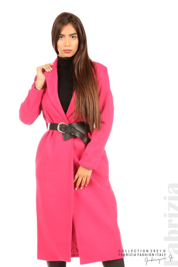 Дълго едноцветно палто с колан циклама 6 fabrizia
