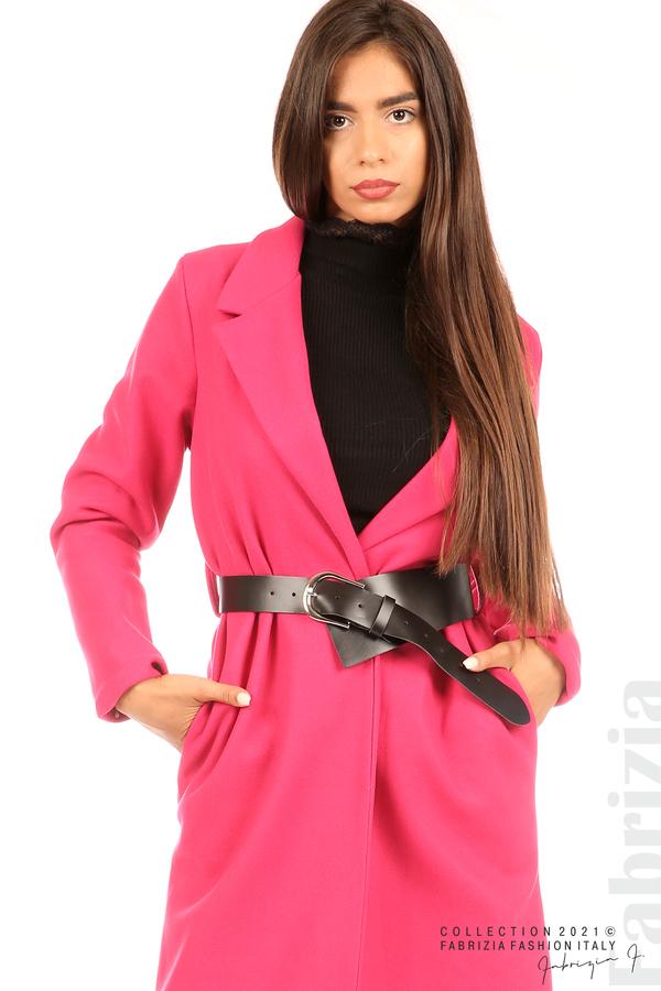 Дълго едноцветно палто с колан циклама 2 fabrizia