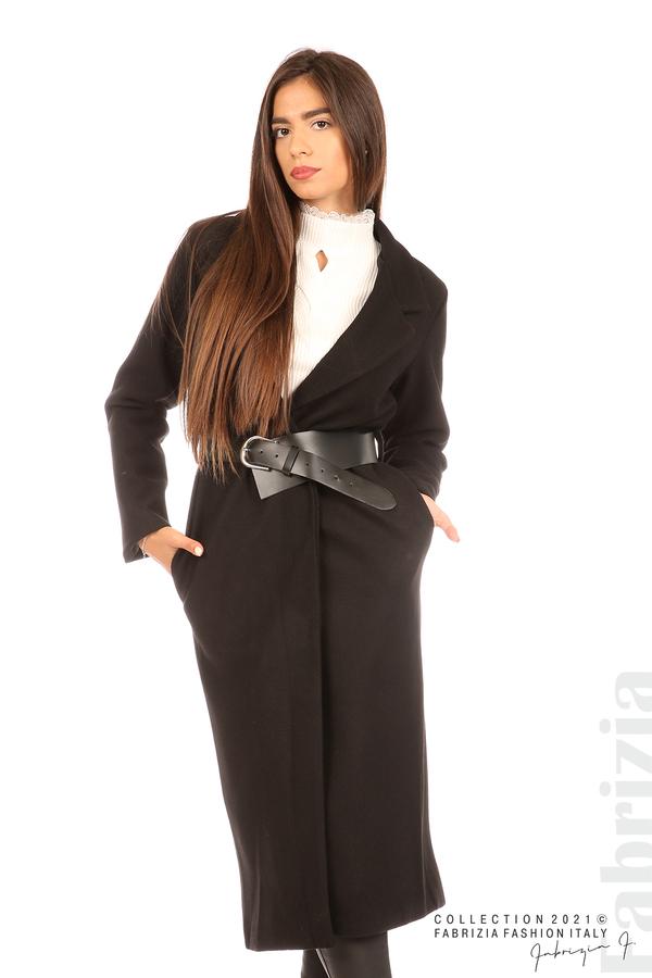 Дълго едноцветно палто с колан черен 4 fabrizia