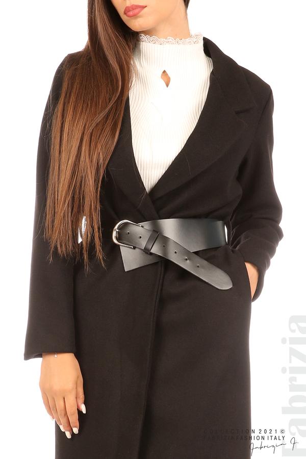 Дълго едноцветно палто с колан черен 5 fabrizia