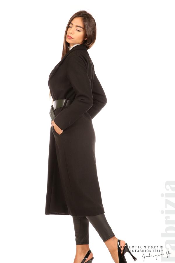 Дълго едноцветно палто с колан черен 3 fabrizia