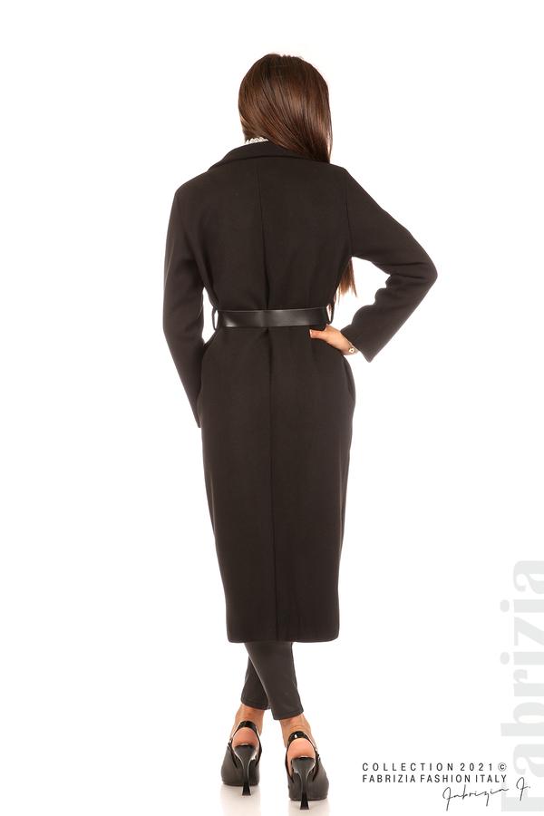 Дълго едноцветно палто с колан черен 7 fabrizia