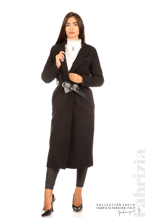 Дълго едноцветно палто с колан черен 1 fabrizia