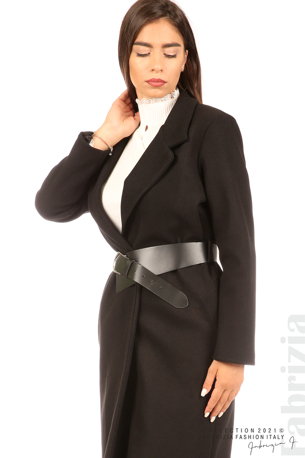Дълго едноцветно палто с колан черен 2 fabrizia