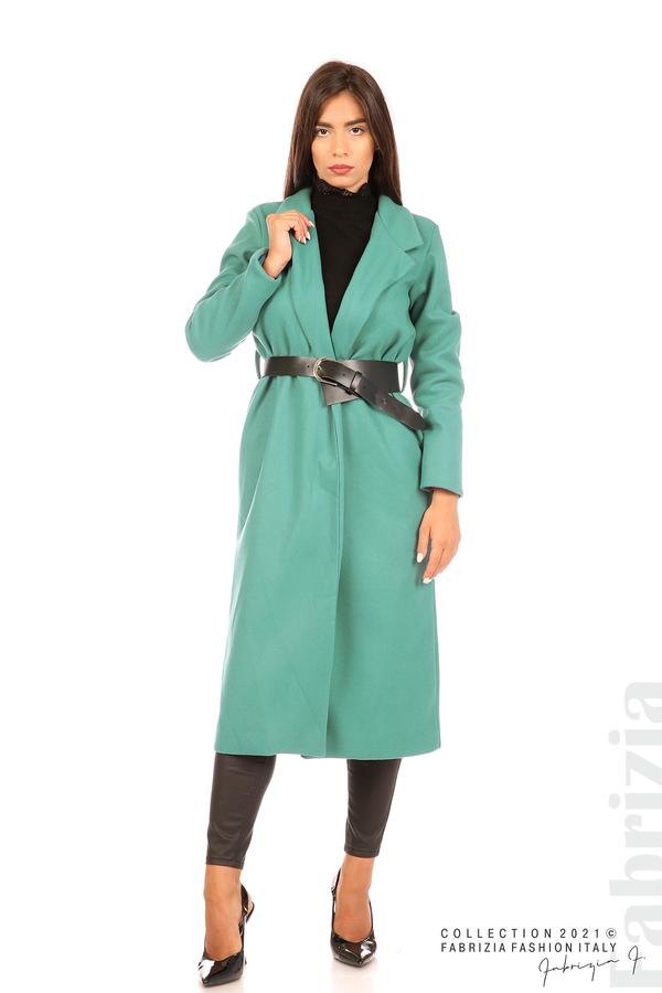 Дълго едноцветно палто с колан аква 1 fabrizia