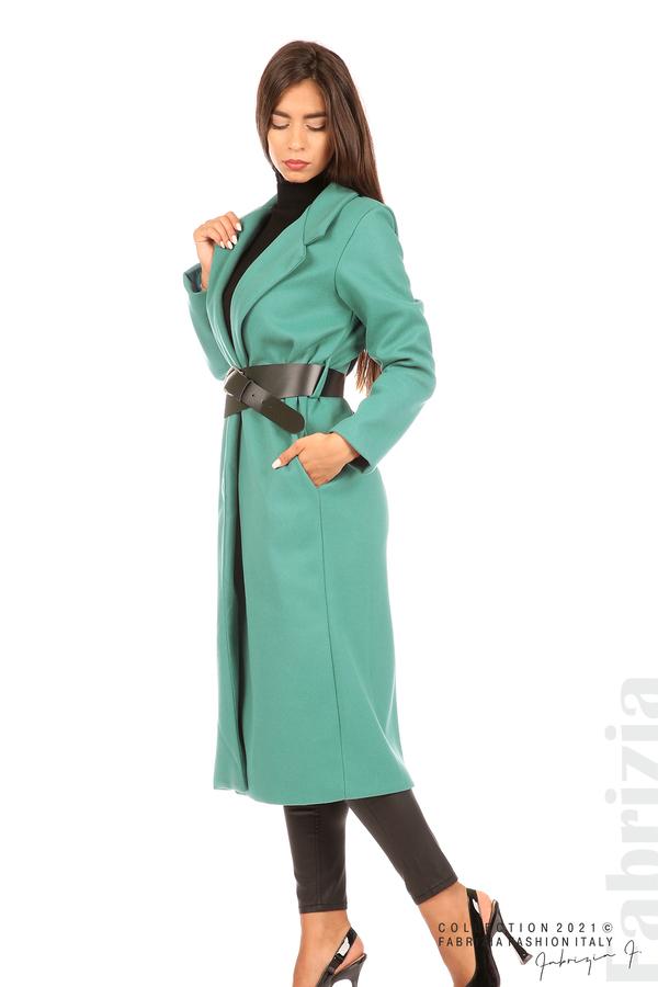 Дълго едноцветно палто с колан аква 4 fabrizia