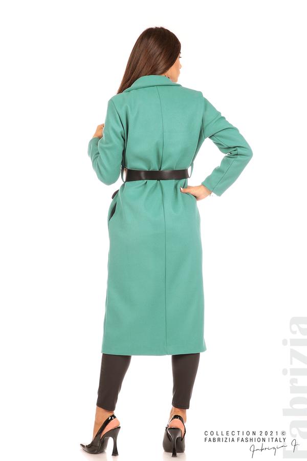 Дълго едноцветно палто с колан аква 7 fabrizia