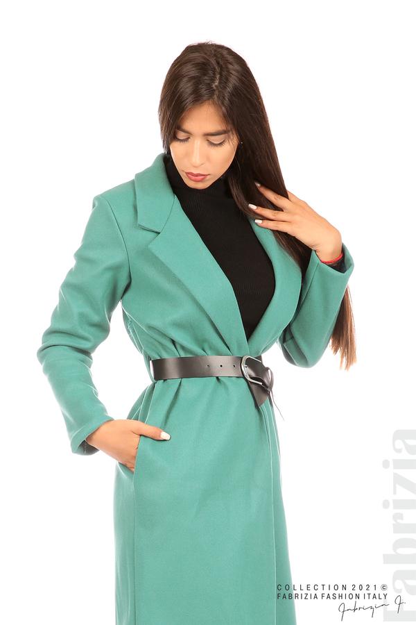 Дълго едноцветно палто с колан аква 5 fabrizia