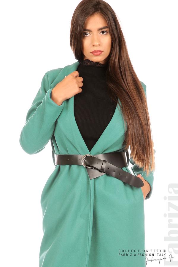 Дълго едноцветно палто с колан аква 2 fabrizia