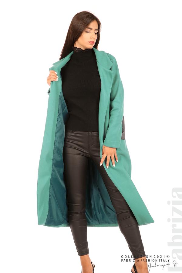 Дълго едноцветно палто с колан аква 3 fabrizia