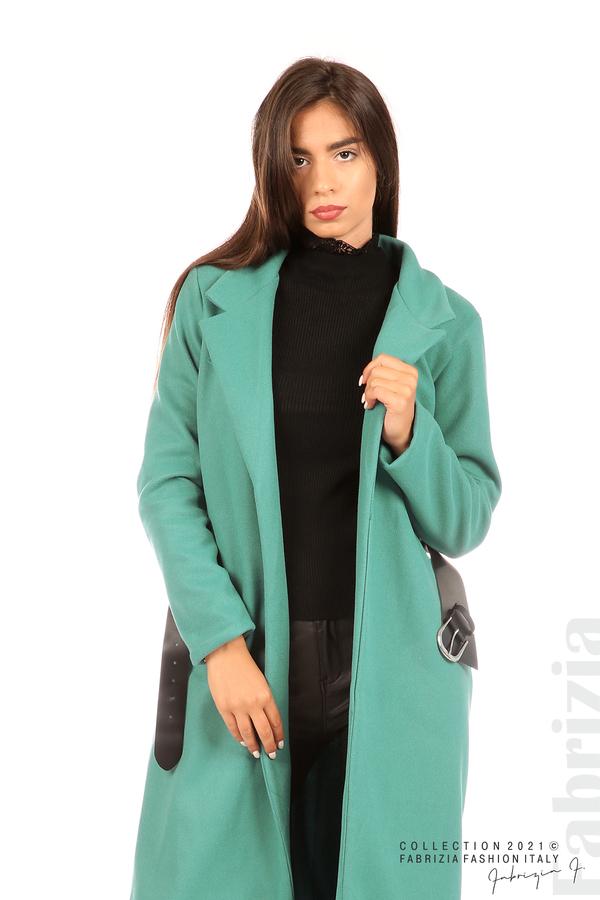 Дълго едноцветно палто с колан аква 6 fabrizia