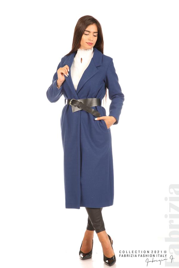Дълго едноцветно палто с колан т.син 1 fabrizia