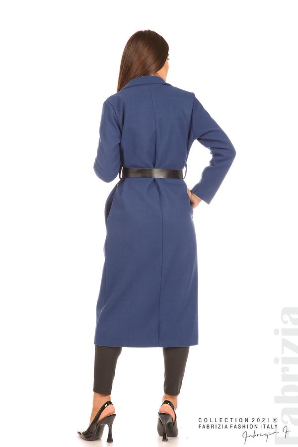 Дълго едноцветно палто с колан т.син 7 fabrizia