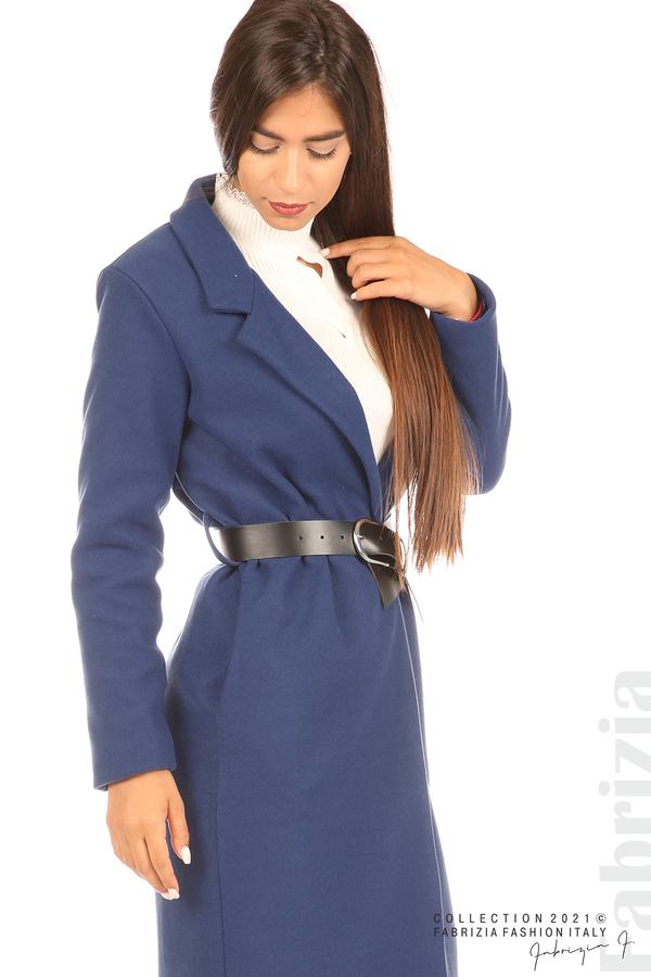 Дълго едноцветно палто с колан т.син 2 fabrizia