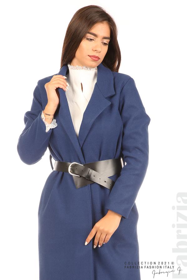 Дълго едноцветно палто с колан т.син 4 fabrizia