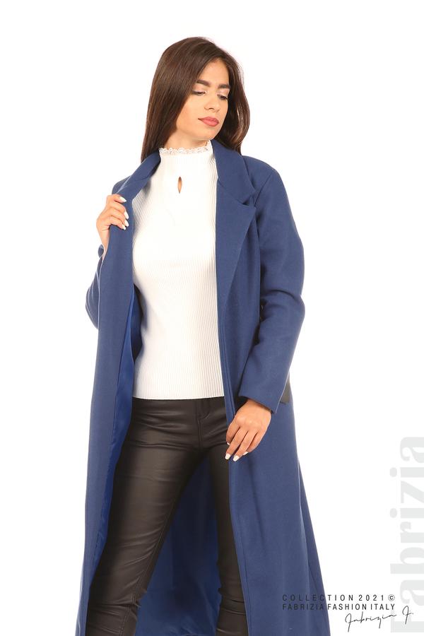 Дълго едноцветно палто с колан т.син 6 fabrizia
