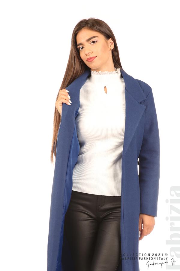 Дълго едноцветно палто с колан т.син 3 fabrizia