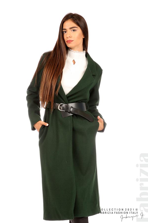 Дълго едноцветно палто с колан т.зелен 5 fabrizia