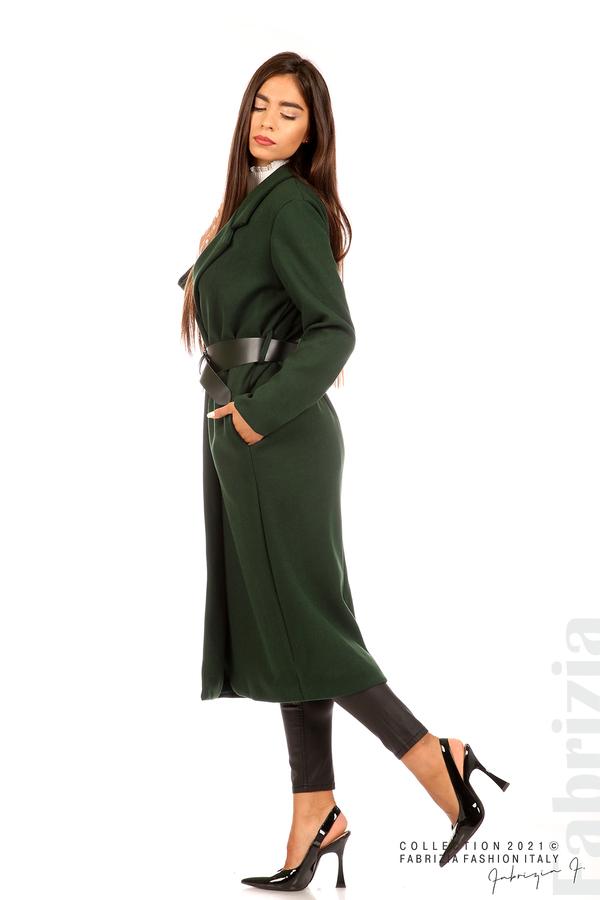 Дълго едноцветно палто с колан т.зелен 4 fabrizia