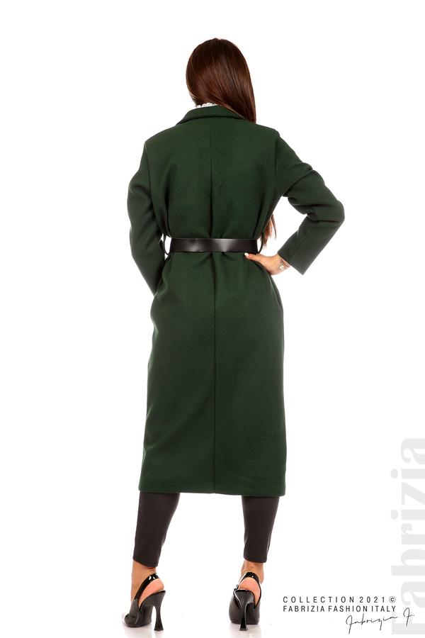 Дълго едноцветно палто с колан т.зелен 7 fabrizia