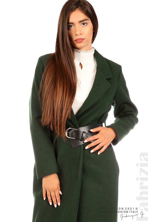Дълго едноцветно палто с колан т.зелен 2 fabrizia