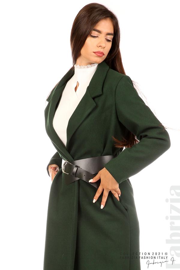 Дълго едноцветно палто с колан т.зелен 6 fabrizia