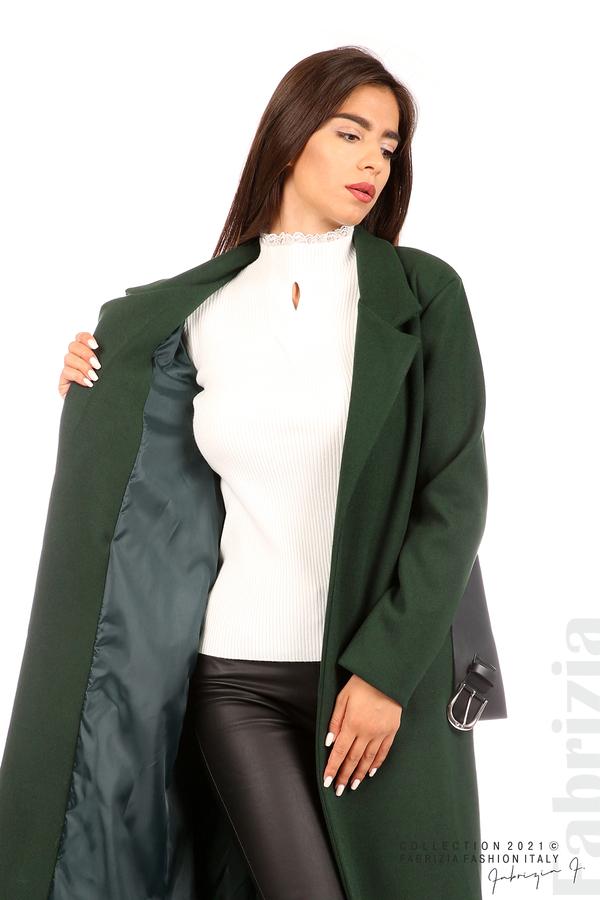 Дълго едноцветно палто с колан т.зелен 3 fabrizia