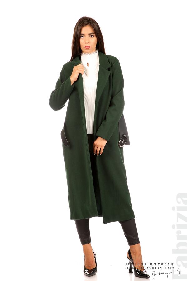 Дълго едноцветно палто с колан т.зелен 1 fabrizia