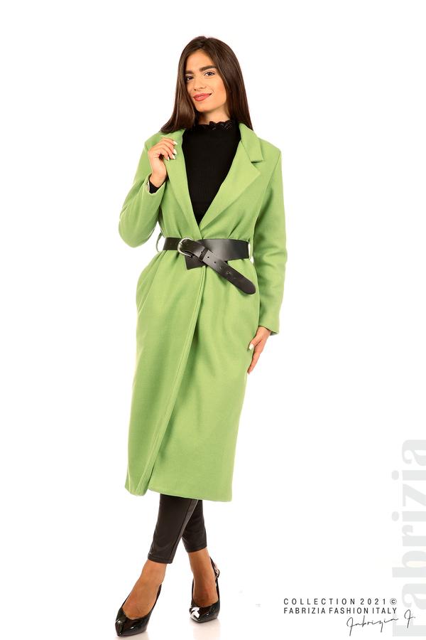 Дълго едноцветно палто с колан киви 1 fabrizia