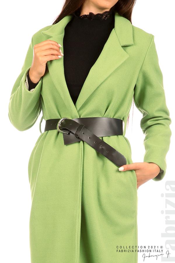 Дълго едноцветно палто с колан киви 2 fabrizia