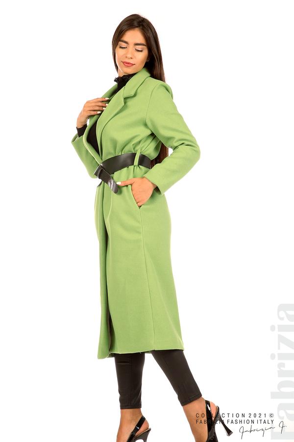 Дълго едноцветно палто с колан киви 5 fabrizia