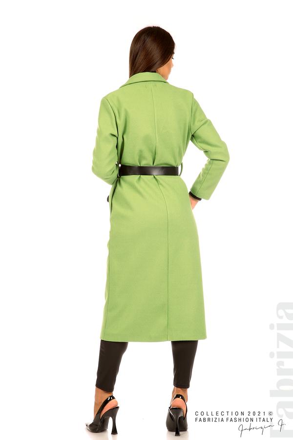 Дълго едноцветно палто с колан киви 7 fabrizia