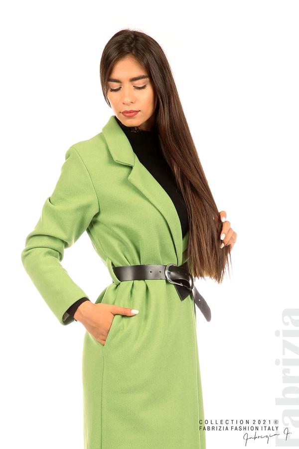 Дълго едноцветно палто с колан киви 3 fabrizia