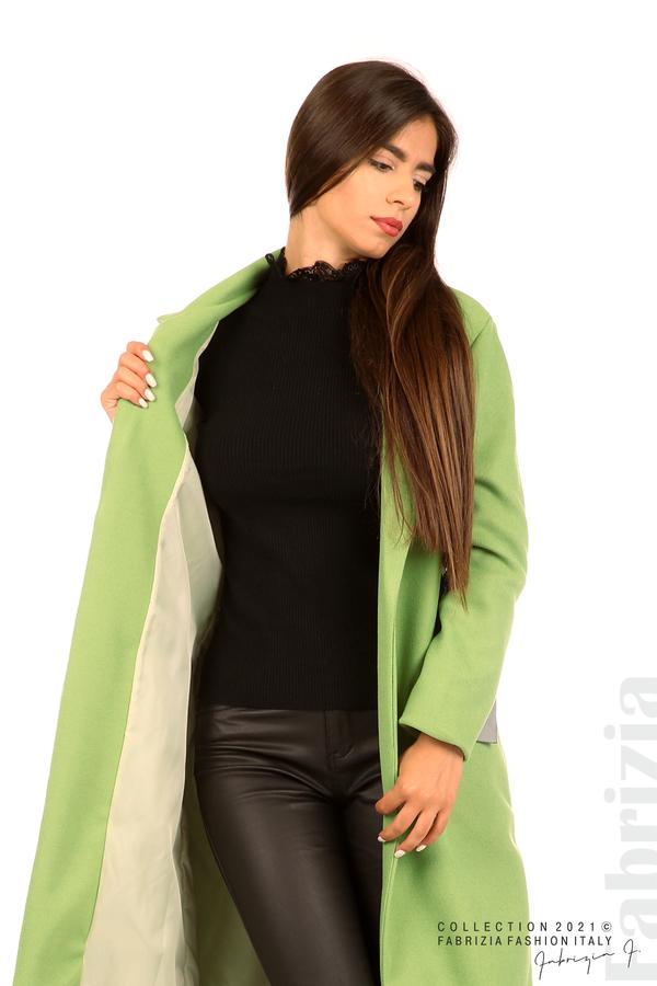 Дълго едноцветно палто с колан киви 4 fabrizia