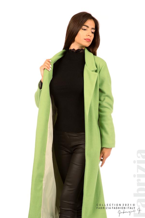 Дълго едноцветно палто с колан киви 6 fabrizia
