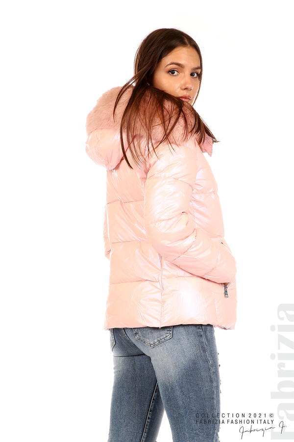 Лъскаво яке с мобилна качулка с кожена яка розов 7 fabrizia